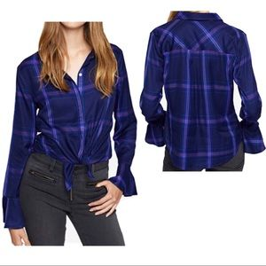 Sanctuary Plaid Top with Bell sleeves